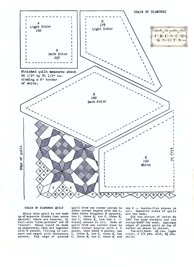 Vintage Quilting Pattern Chain of Diamonds French knots | Quilt ... : diamond quilt pattern free - Adamdwight.com