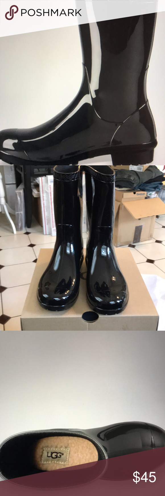 "UGG Girls RAANA Rubber Rain Boots NWT 2 Ugg Girls RAANA Rubber Rain Boots NWT  Sharp new with box size 2 RubberRain Boots. Perfect for splashing in the rain and wet game days! Features Solid black color, sheepskin insole cushion which is removable. PVC outsole. 5"" shaft. UGG Shoes Boots #uggbootsoutfitblackgirl"