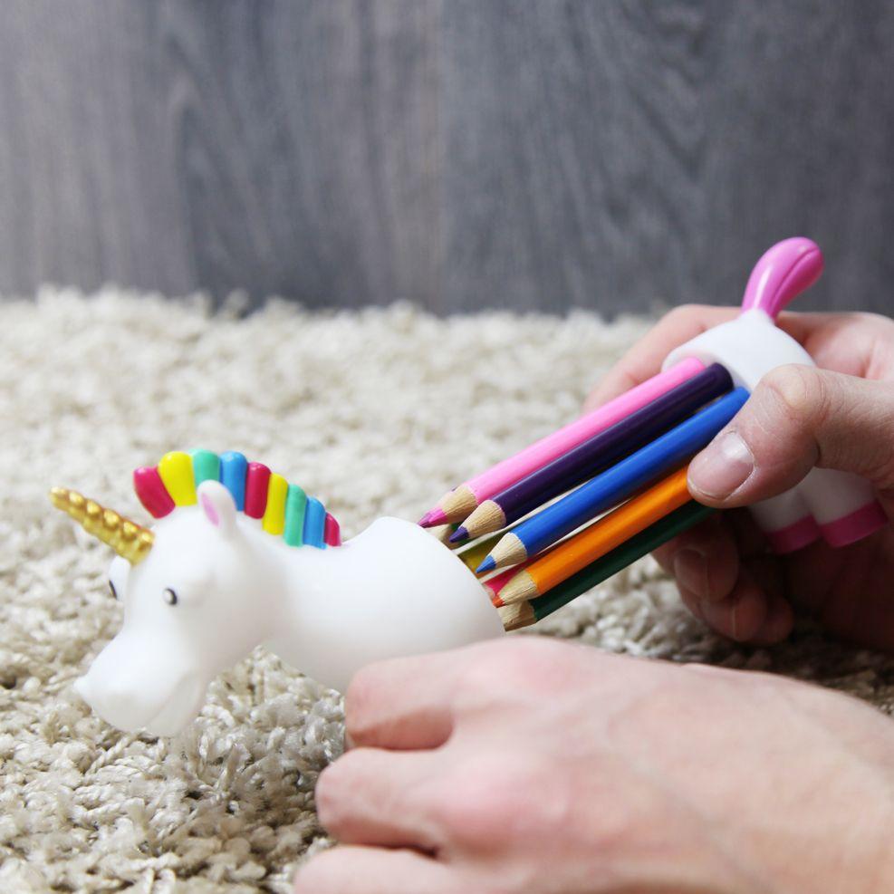 Unicornio Portalápices con lápices de colores: Todo el arcoiris en ...