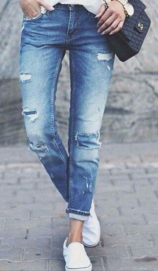 jeans white slip ons