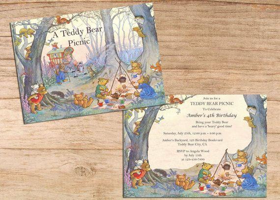 Cute Vintage Teddy Bear Picnic Kids by MollySkyInvitations on Etsy