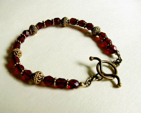 Dark Red 24k Gold Vermeil Bracelet by #TheBrassHussy on Etsy #jetteam #jewelryonetsy