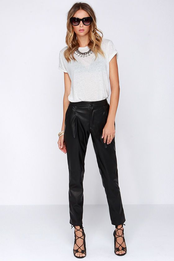 Pleather Permitting Black Vegan Leather Pants