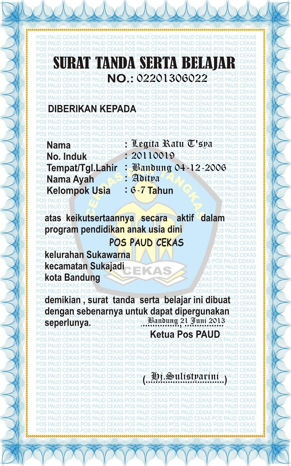 Contoh Sertifikat Piagam Ijazah Siswa Anak Paud Kb Tk Tpa Kepala Sekolah Bingkai