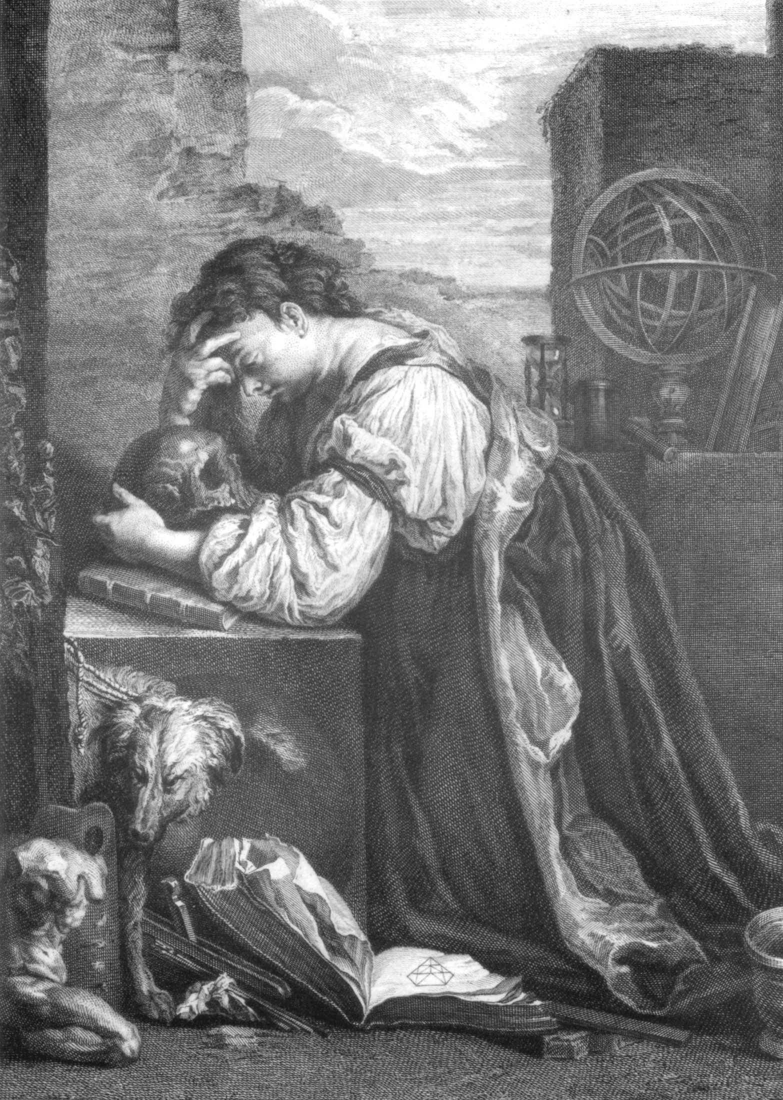 Magdalena meditant (malenconia) gravat s.XVII Henry-Simon Thomassin sobre una obra de Domenico Fetti