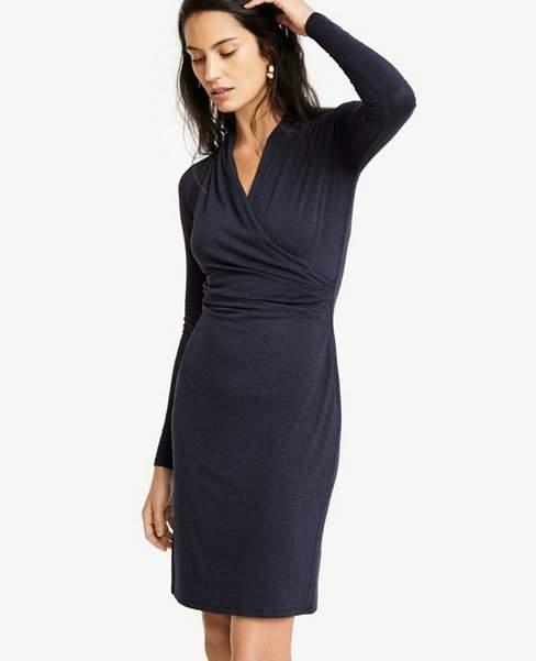 61febce204a Ann Taylor Petite Faux Wrap Knit Dress