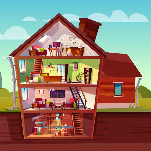 Interior De La Casa De Tres Pisos En Seccion Transversal Con Sotano Edificio Privado De Varios Pisos Co Casa De Tres Pisos Casa De 3 Pisos Interior De La Casa