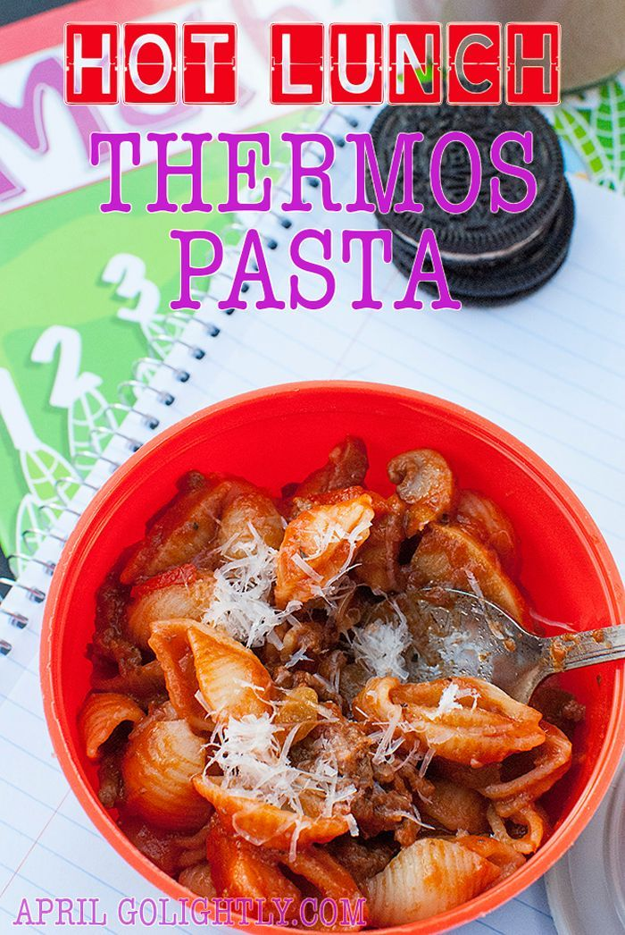 Hot Lunch Thermos Pasta recipe cook 1 day per week and freeze in ziplock bags for healthy option for your kids