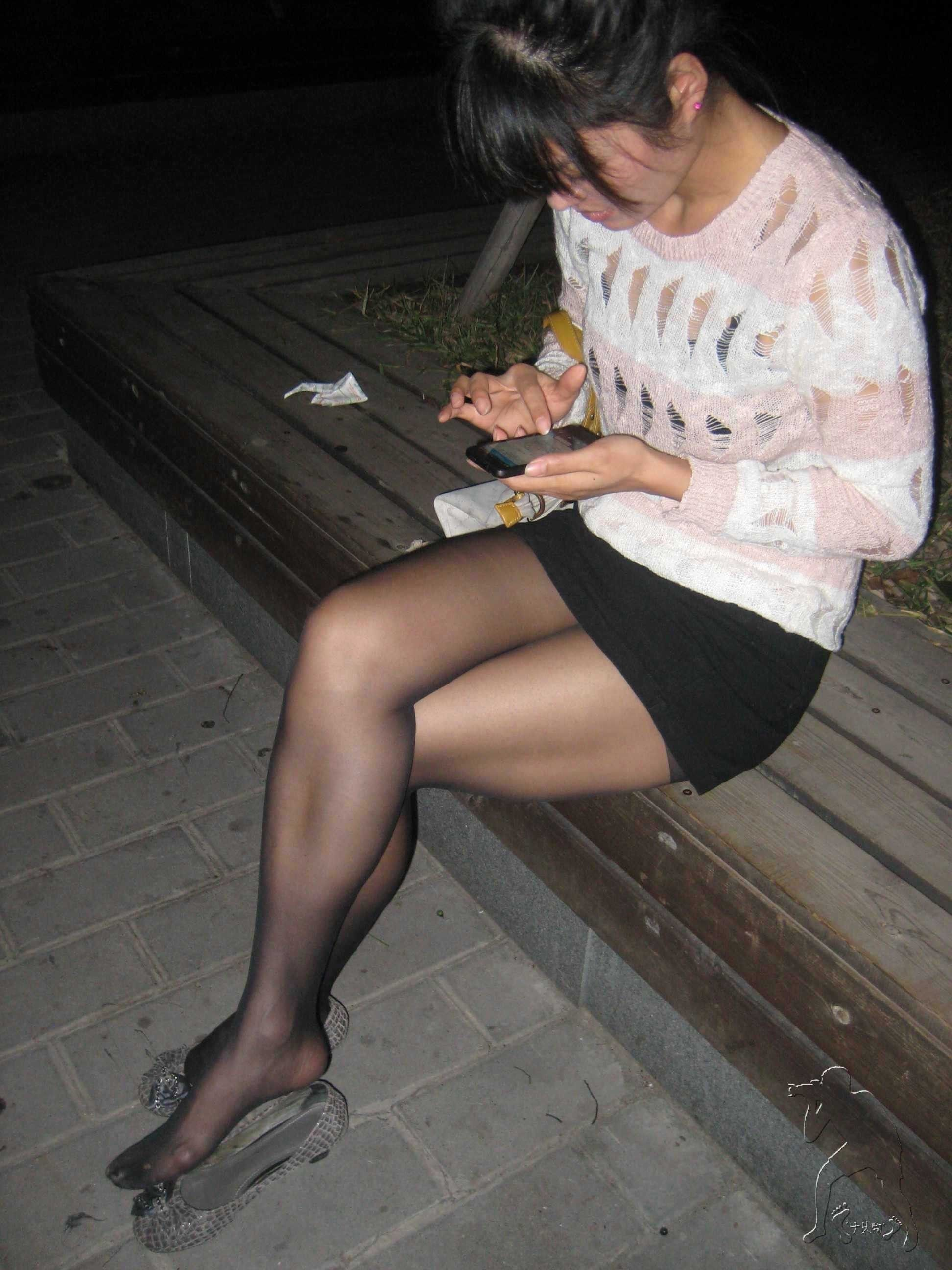 Fashion look from june 2014 featuring thigh high hosiery purple - Candid Dark Haired Babe Wearing Black Pantyhose Sitting With Her Legs Crossed Showing Her Lush Nylon Feet Girls With Legs
