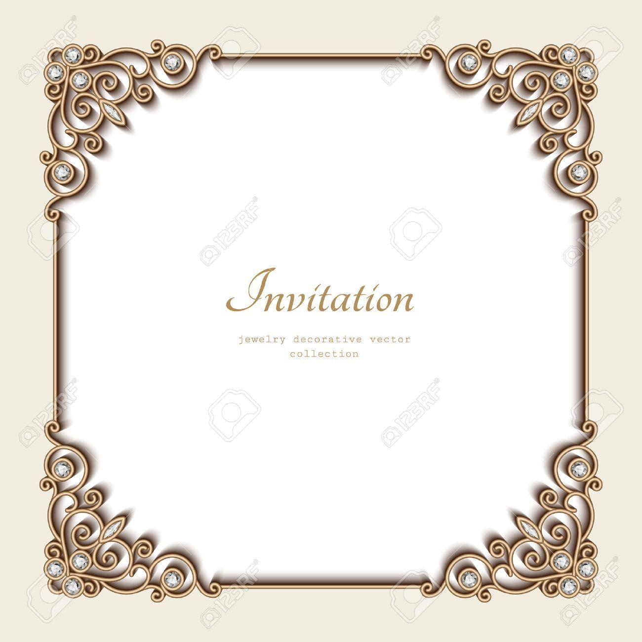 Vintage gold background, elegant square frame, invitation template, antique jewelry vignette , #ad, #elegant, #square, #background, #Vintage, #gold
