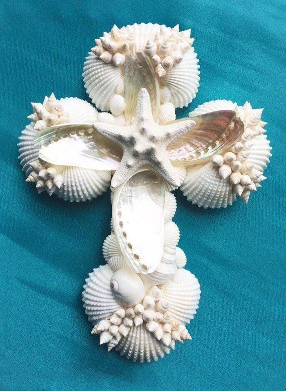 Wedding Cross, Seashell Cross, Sea Shell Cross, Wh
