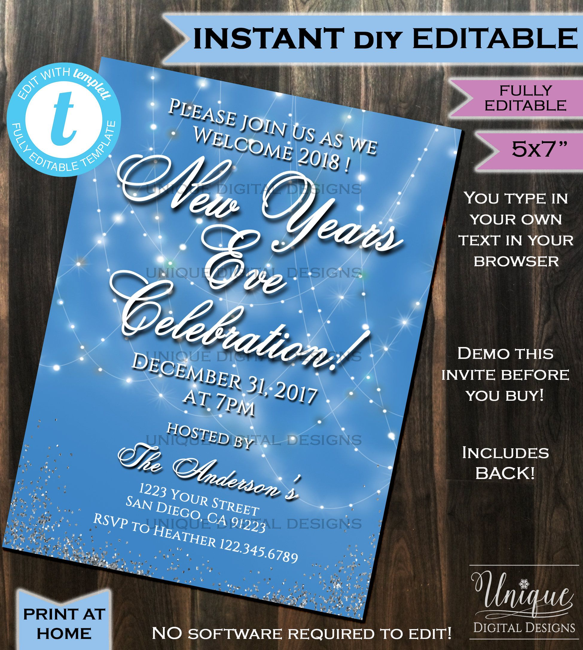 Editable New Years Eve Invitation, New Year Celebration