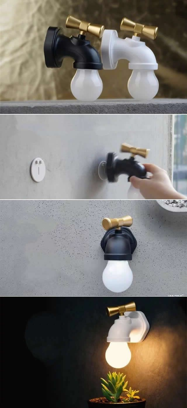 USB Rechargeable Wall Mount Faucet Night Light | Lights & Lighting ...