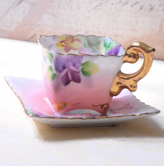 vintage miniature bone china tea cup with saucer occupied japan porzellan und keramik. Black Bedroom Furniture Sets. Home Design Ideas