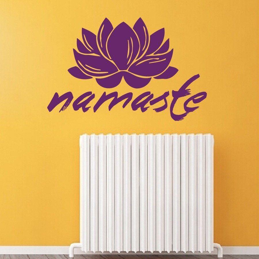Wall Decals Vinyl Decal Sticker Lotus Namaste Word Yoga Gym Interior ...