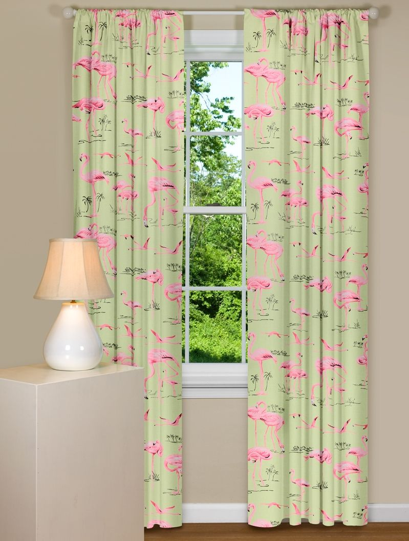 Modern Curtains With Pink Flamingo Design   For the Home   Pinterest
