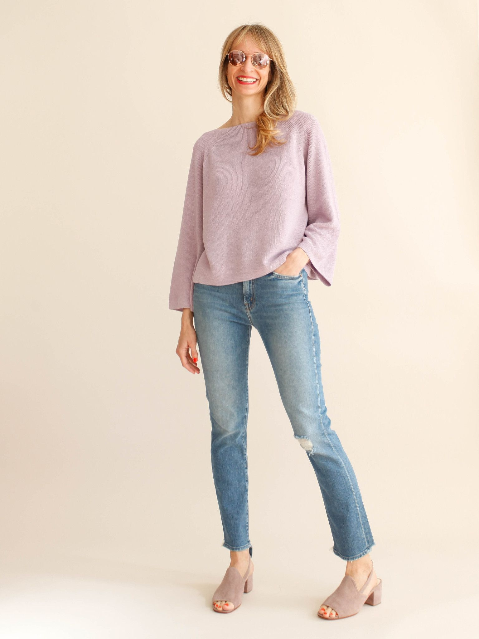 Demylee pina boatneck sweater lilac products pinterest
