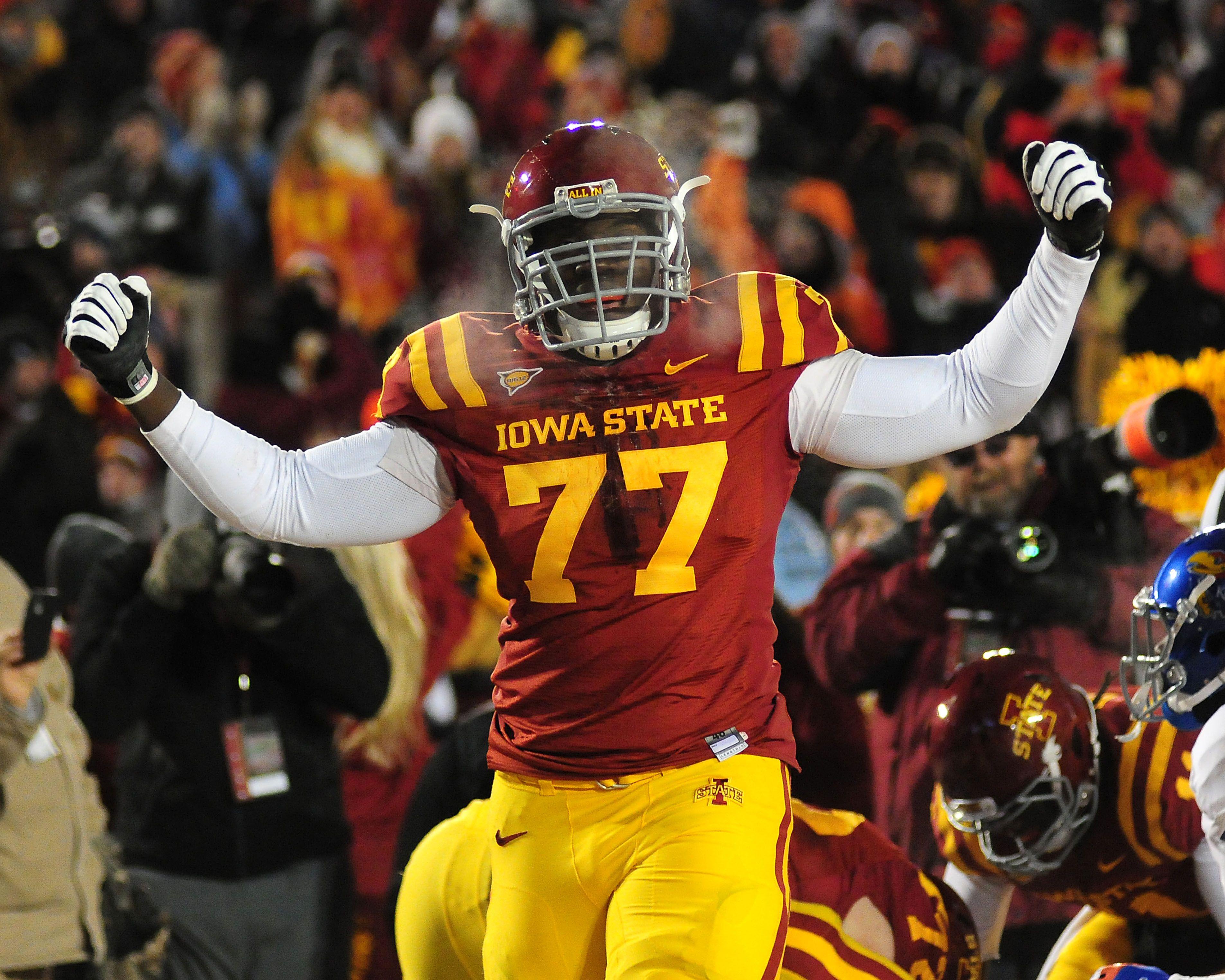 Iowa State Offensive Lineman Oni Omoile Celebrates A Tackle