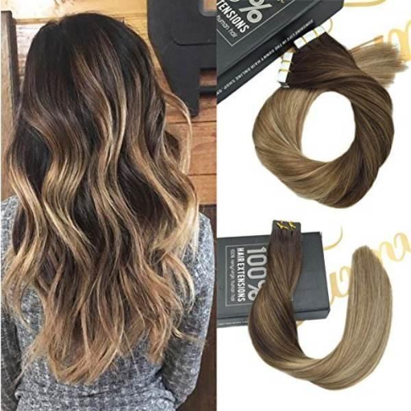 Tape In Dark Brown Ombre Medium Brown Highlight Blonde Human Hair