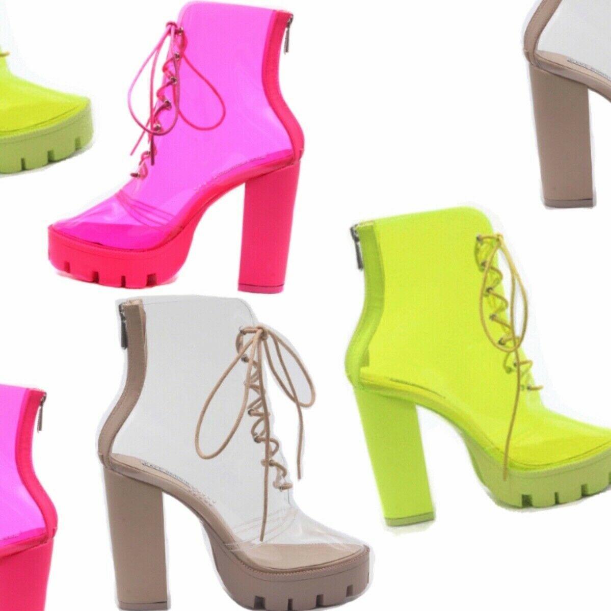Cape Robbin CYBIL Neon Pink Clear Lace Up Lug Platform Chunky Block Heel Bootie