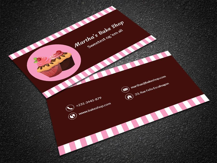 Free modern bakery business card bakery business cards bakery edit this strawberry themed cupcake bakery business card template online and get a unique flashek Image collections