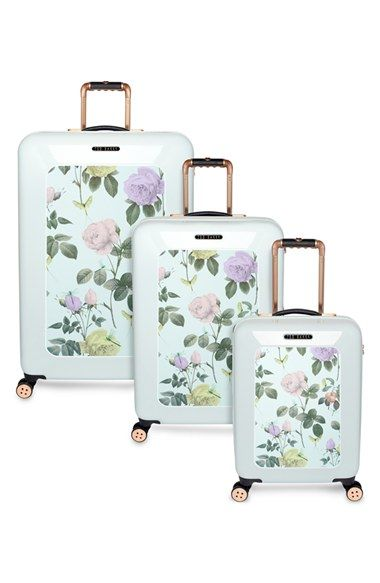Traveling in style with this cute mint and rose gold suitcase ...