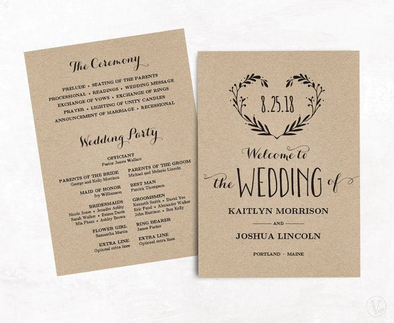 Vintage Wedding Program Template Printable By VineWedding