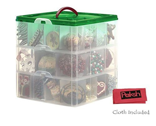 Snapware Paksh Christmas Plastic Ornament Storage Container 3 Stackable Snap Together Box Trays Http