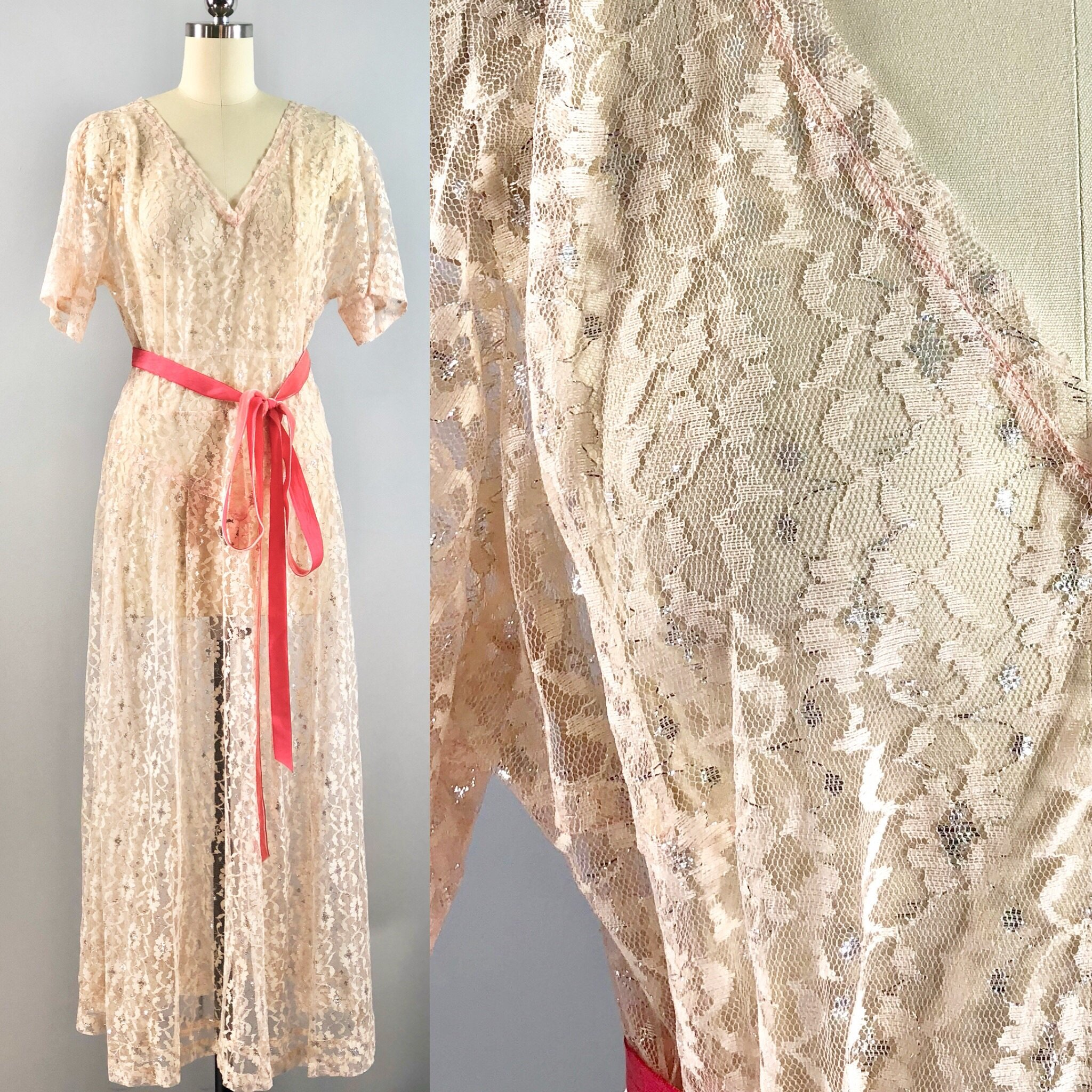 fe1516ecd 30s Vintage 1930s White Peach Silver Metallic Chantilly Lace Over Dress  Shift 38 bust