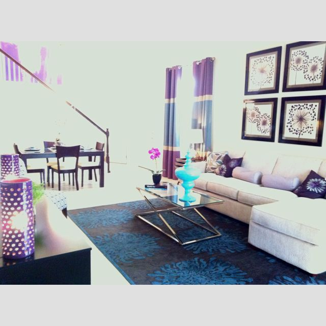 Purple And Teal Great Room Bad Quality Photo The Walls Are Beige I M Going To Do Grey Instead Interior Design Inspiration Home Decor Great Rooms