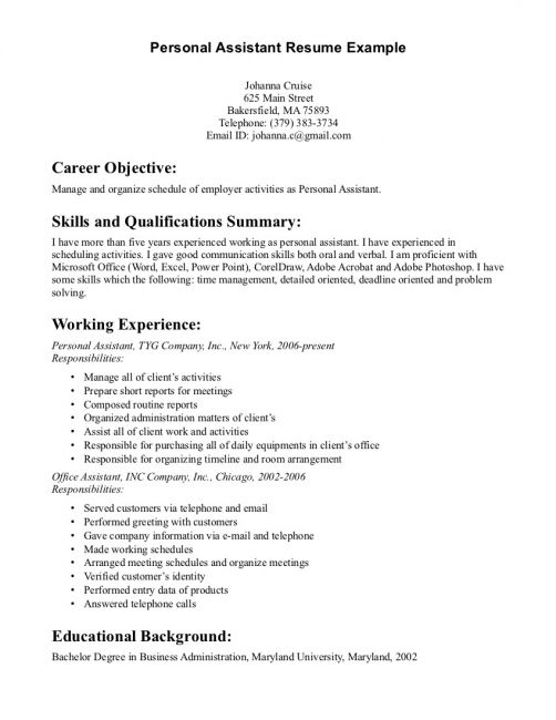 Personal Assistant Resume Summary Examples Cover Letter Objective