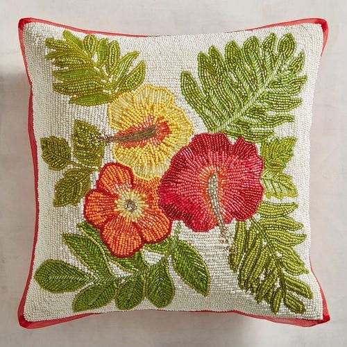 Beaded Tropical Hibiscus Decorative Pillow Orange Red Yellow
