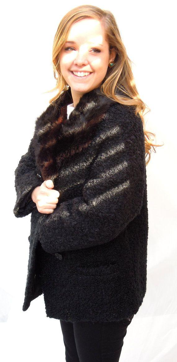 vintage.persian lamb swing coat.50s-60s.fur collar.black.PERFECT.fully lined.tessiemay