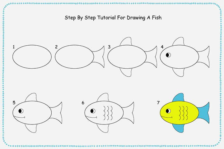 How To Draw A Fish Step By Step For Kids Drawing For Kids Fish Drawings Fish Drawing For Kids