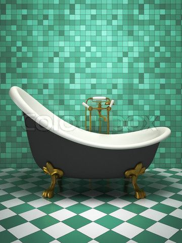 Image of 'Modern interior of the turquoise bathroom'