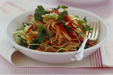 This colourful noodle side salad is dressed in a spicy Thai-style dressing.