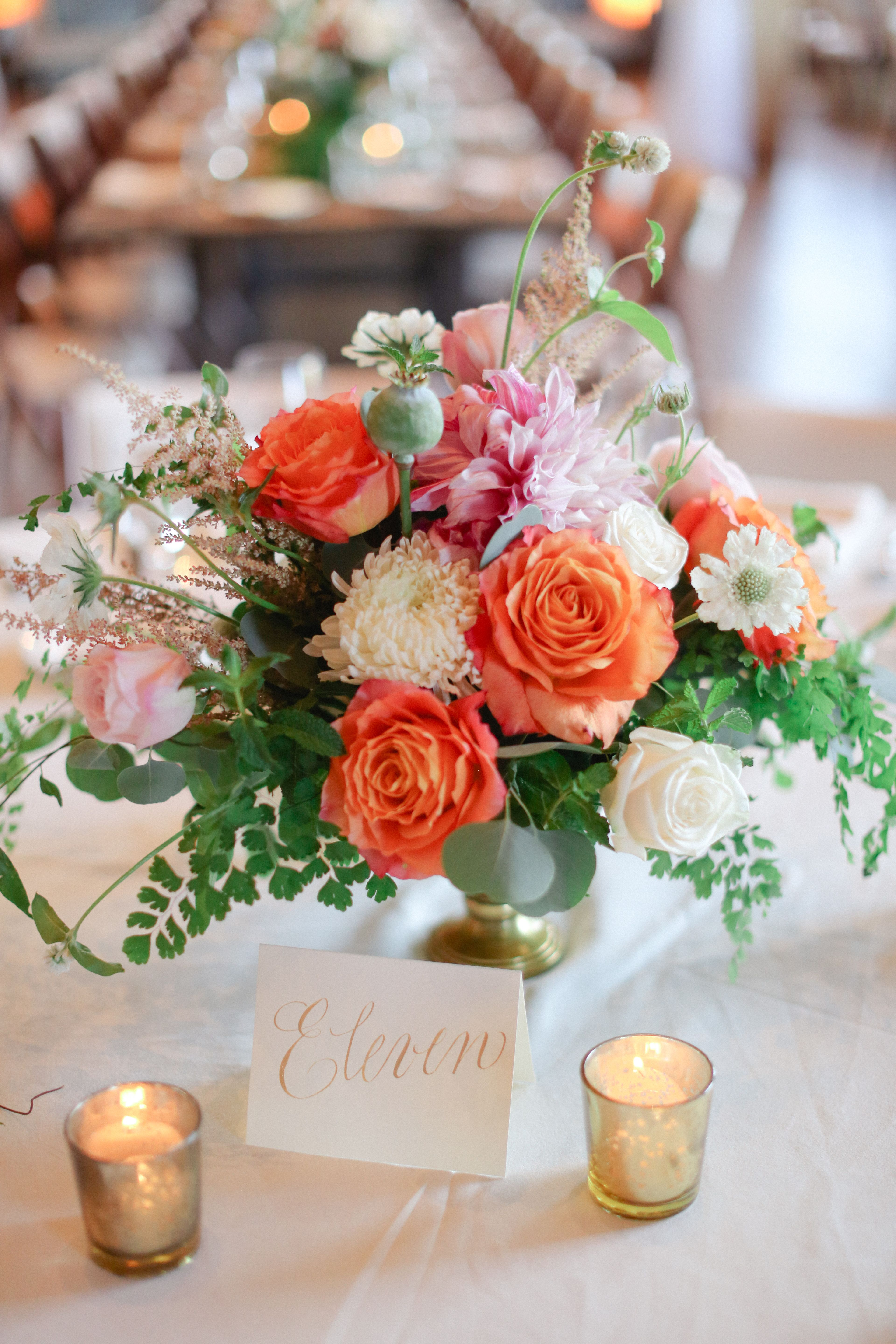 Low Ivory and Coral Garden Rose and Fern Centerpiece ...