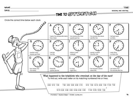 A telling time worksheet for reading and writing time to