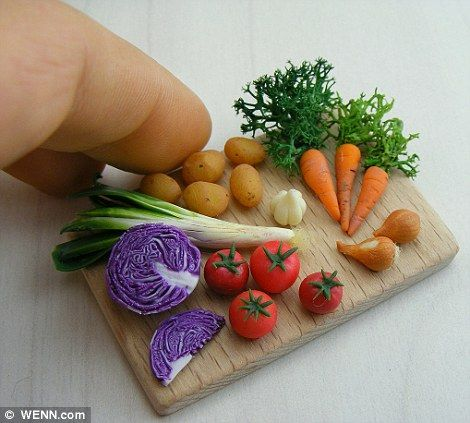Veggies by Shay Aaron, wenn.com via dailymail.co.uk #Mini_Food #Shay_Aaron #Wenn_Com #dailymail_co_uk #Sculpture