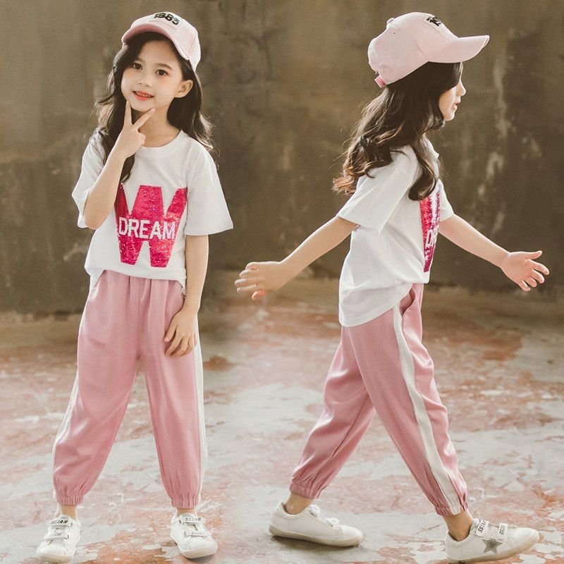 a915b8910b68f Big Girl Summer Clothes Set Cotton Casual Letter T-shirt + Thin ...