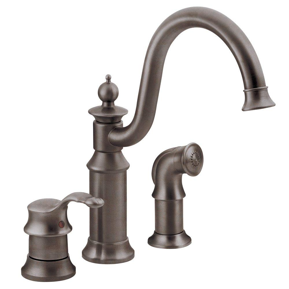 Moen Waterhill High Arc Single Handle Standard Kitchen Faucet With Side Sprayer In Oil Rubbed Bron Kitchen Faucet High Arc Kitchen Faucet Bronze Kitchen Faucet