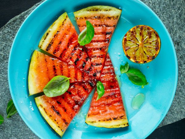 Grilled watermelon with lime. Yum!