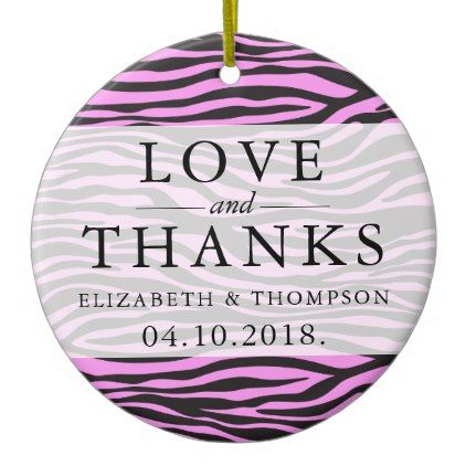Thank you animal print zebra black pink ceramic ornament thank you animal print zebra black pink ceramic ornament wedding thank you marriage junglespirit