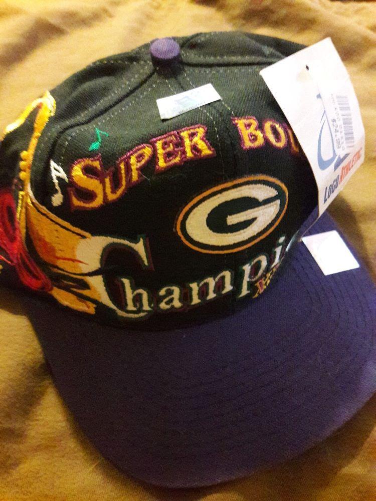 Vtg Logo Athletic Green Bay Packers Super Bowl XXXI Champs Mardi Gras Hat  Cap  fashion e690fbaaf