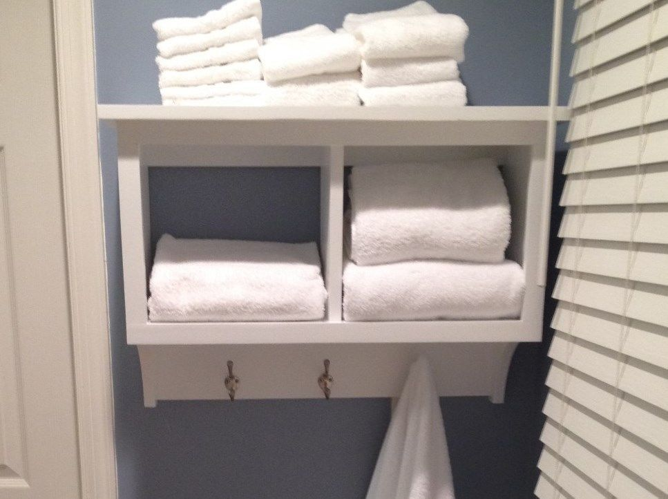 Towel Rack Cubby Wall Shelf Bathroom Holder Display Rack 2 Cubby ...