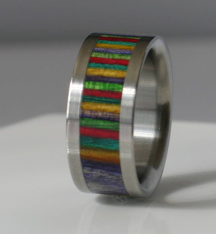Custom Made Rainbow Dymond Wood Titanium Band Wooden Commitment Ring