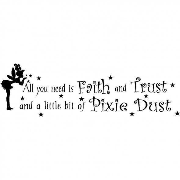 Amazon tinker bell quote laughter is timeless 23x12 wall saying all you need is faith and trust and a little bit of pixie dust voltagebd Choice Image