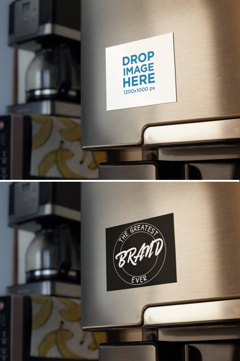Placeit Fridge Magnet Mockup With A Coffee Machine And Bananas Print In The Back Coffee Machine Banana Print Fridge Magnets