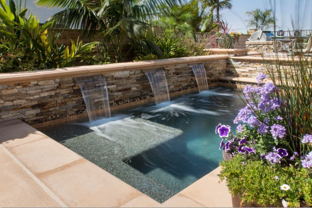 Swimming pool sheer descent walls google search pool - Swimming pool water feature ideas ...