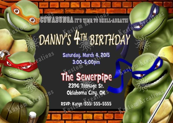 Teenage Mutant Ninja Turtles 3 Birthday Invitation